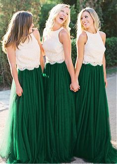 Lace Wedding Dresses, Alluring Lace & Tulle Jewel Neckline Full-length Two Piece A-line Bridesmaid Dress, Find your personal style and the perfect wedding dress for your special wedding day Christmas Bridesmaid Dresses, Two Piece Bridesmaid Dresses, Bridesmade Dresses, Lace Bridesmaids, Bridesmaid Separates, Tulle Bridesmaid Dress, Bridal Dresses Online, Bridal Wedding Dresses, Gowns Online