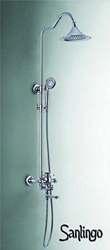 Nostalgie Retro Duschset Dusche Badewanne Einhebel Armatur Sanlingo Chrom Komplett Regenschauer Handbrause Stange Wannenauslauf Serie AIKO