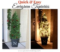 Quick and Easy Evergreen Topiaries I am so excited to share my first Christmas craft of the season with you! These 5' evergreen topiaries were so quick and easy to put together. I've been wanting to get some for my front porch for years, but did not want to pay the price tag for pre-lit topiaries. They are ridiculously priced! Most that I have seen (this tall) are $75+ each. These are made using a tomato cage for a frame and are nice and bushy. I added cinnamon scented pine cones an... First Christmas, All Things Christmas, Winter Christmas, Christmas Holidays, Merry Christmas, Christmas Ideas, Christmas Greenery, Modern Christmas, Christmas Signs