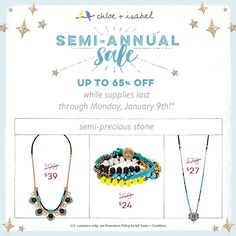 Save on semi-precious styles during our Semi-Annual SALE – now through 1/9! www.birdwithafrenchfry.com