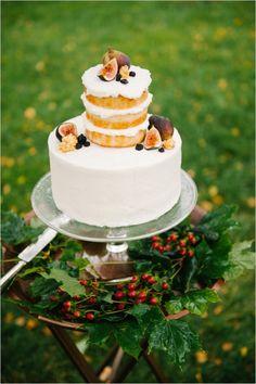 half naked fig wedding cake #nakedcake #weddingcake #weddingchicks http://www.weddingchicks.com/2014/03/13/intimate-earthy-wedding/
