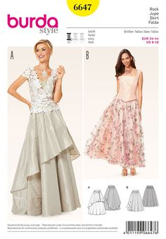 Misses Skirt Burda Sewing Pattern 6647. Size 8-18.