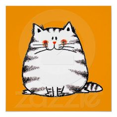 Fuzzy cat illustration, by jsoh Fat Cats, Cats And Kittens, Crazy Cat Lady, Crazy Cats, Silly Cats, Gato Doodle, Griffonnages Kawaii, Art Picasso, Cat Posters