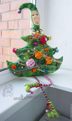 Купить Ёлки зелёные! текстильная авторская новогодняя кукла - зеленый, ярко-зелёный