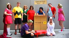71 Winning Group Halloween Costume Ideas Dress up as Charlie Brown and the Peanuts gang for Halloween. Halloween Costumes For Work, Hallowen Costume, Cool Halloween Costumes, Zombie Costumes, Halloween Stuff, Halloween Couples, Diy Costumes, Homemade Costumes, Homemade Halloween