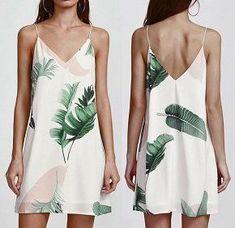 Diy Crafts - Women Spaghetti Strap Slip Vest Dress Palm Leaf Print Double V Neck Cami Dress Leaf Prints, Dressing, V Neck, Pure Products, Pretty, Clothes, Women, Robes Sexy, Palm Print