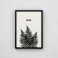 HOME - This lovely black & white botanical print is a great piece to put up on a shelf amongst all the things that remind you of 'HOME' (like gin..& chocolate).  The A4 size is just £18!