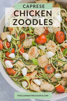 Chicken Caprese Zucchini Noodles are an easy light summer dinner. Made with spiralized zucchini and fresh tomatoes they're gluten free and delicious! These caprese zooodles are a delish keto recipe everyone will enjoy! Healthy Gluten Free Recipes, Healthy Chicken Recipes, Whole Food Recipes, Keto Recipes, Paleo, Whole 30 Chicken Recipes, Entree Recipes, Caprese Chicken, Chicken Zucchini