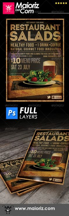 Restaurant Salads Flyer — Photoshop PSD #vintage western #flyer • Available here → https://graphicriver.net/item/restaurant-salads-flyer/6878627?ref=pxcr