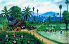 Chinese Landscape Painting, Landscape Drawings, Landscape Pictures, Landscape Paintings, Village Drawing, Art Village, Fields In Arts, Filipino Art, Village Photography