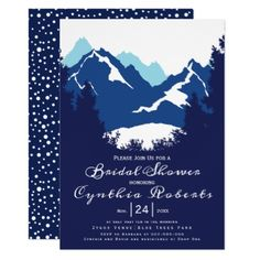 Blue mountains and conifers wedding bridal shower card - winter bridal shower gifts wedding diy ideas