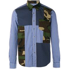 SOPHNET Multi Mix Long Sleeve Shirt (515 BGN) ❤ liked on Polyvore featuring men's fashion, men's clothing, men's shirts, men's casual shirts, men, mens longsleeve shirts, mens military shirt, mens camo shirt, men's regular fit shirts and mens gingham shirt