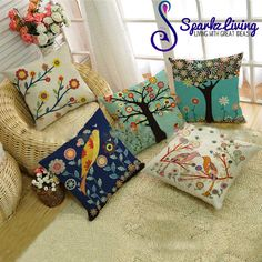 Garden Home Decor Vintage Linen Cotton Cushion Cover Throw Pillow Case 45x45cm