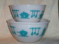 Hazel Atlas Kitchen Aids MIxing Bowls Set of 2 by thetrendykitchen, $29.00