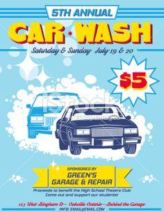 Retro Style Car Wash Ad Royalty Free Stock Vector Art Illustration