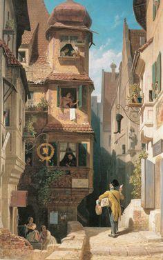 """Carl Spitzweg - """"Der Briefbote im Rosental"""" 1858 - Idyllic Biedermeier scene."""