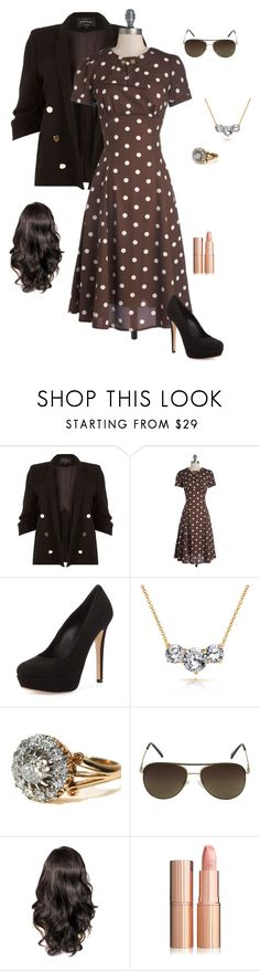 """Brown"" by gone-girl ❤ liked on Polyvore featuring River Island, Charles David, Bling Jewelry, Vince Camuto and plus size clothing"