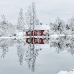 ***Winter reflection (Grisnäs, Hedströmmen, Skinnskatteberg, Sweden) by Christina (@tankartartid) on Instagram ❄️c.