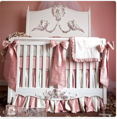 French looking pink and gray #crib. What a centrepiece for the #babygirl #nursery....Posh Tots - Mirabelle. Gorggg