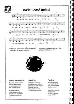 Naše země kulatá: Kids Songs, Earth Day, Music Notes, Sheet Music, Indiana, Clip Art, Space, Projects, Africa
