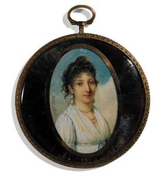 Portrait miniature of a lady by Petit. The lady, facing left, is wearing a white dress with puff-sleeves and a muslin fichu, three gold necklaces and large pearl earrings. Her curly dark hair is adorned with a pearl-studded gold comb. The background is clouds and sky. The oval miniature is set with a gold mount within a circular gilt-metal locket frame with a radiating hair base.