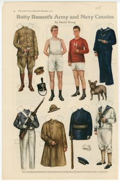 Betty Bonnet's Army and Navy Cousins  paper doll  1917  Artist:  Sheila Young