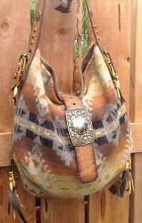 Double J Originals Pendleton Wool and Distressed Brown Leather Western Handbag. I REALLY like this!