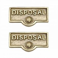 2 Switch Plate Tags DISPOSAL Name Signs Labels Solid Brass