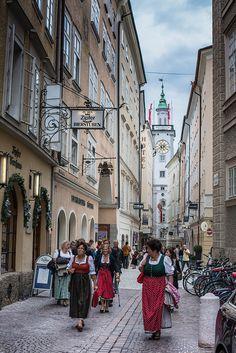 Streets of Salzburg, Austria - it is not so rare to find women in dirndls!