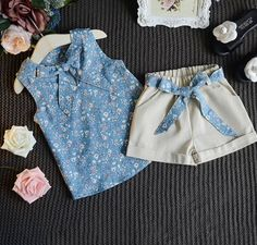 New Summer Baby Girls Clothing Sets Bow Floral Sleeveless Vest Top+ Shorts Pants Baby Kids Children Girls Clothing Set Hot Sale. Baby Girl Fashion, Fashion Kids, Short Outfits, Kids Outfits, Baby Dress Design, Baby Dress Patterns, Dresses Kids Girl, Cute Baby Clothes, Outfit Sets