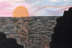 Beach and Ocean Sunset Fabric Postcard Art Quilt, Beach Landscape