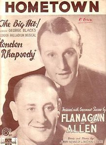 Flanagan and Allen Hometown Sheet Music for Piano & Voice 1937