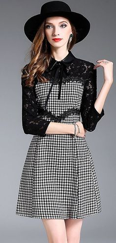 Street Lace Houndstooth Patched A-line Dress