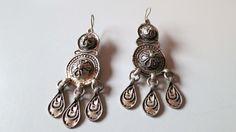 Vintage Berber silver niello danglers earrings from Morocco. door tribalgallery op Etsy