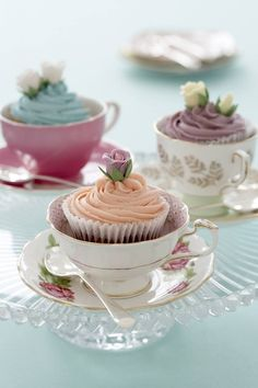 Cupcakes served in tea cups I'm a cupcake person but I think this would be cute with any dessert http://www.simplyvintagestyle.com/