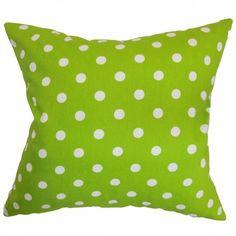 Nancy Polka Dots Pillow (155 BRL) found on Polyvore featuring home, home decor, throw pillows, polka dot throw pillow, cotton throw pillows, square throw pillows, polka dot home decor and grey and white throw pillows