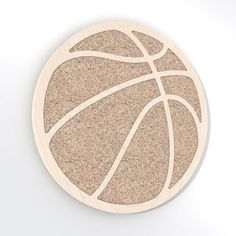 Basketball Noticeboard. Made from baltic birch plywood and natural cork, cnc cutted. Designed and made in Québec, by dezz.xyz