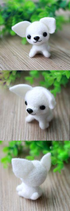 Handmade Needle felted felting animal cute dog Chihuahua felted wool doll