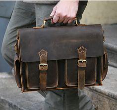 Hand Stitched Leather Messenger Bag, Mens Messenger Bag, Leather Accessories For Men(C28)