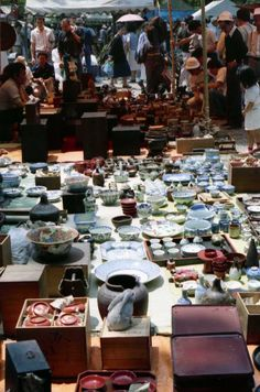 Flea market outside Temple Japan....loved going to these when we lived in Japan.