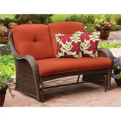 Wicker Outdoor Patio Glider Swing Cushioned Loveseat Bench Rocking Seat  Free | EBay
