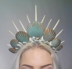 mermaid crown tiara headdress turquoise by Fairytas on Etsy