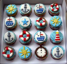 Nautical cupcakes. Love all the designs on them!