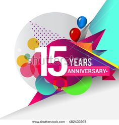 15 years Anniversary logo, Colorful geometric background vector design template…