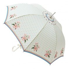 Umbrella with dots and flowers by Lisbeth Dahl Copenhagen Spring/Summer 13. #Umbrella #Flowers #Dots #Blue #Pink
