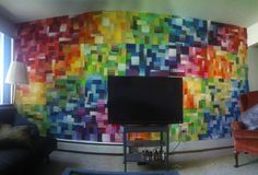 i think this actually looks cool! Paint Sample Wall, Paint Chip Wall, Paint Chips, Paint Walls, Paint Swatch Art, Paint Swatches, Chip Art, Paint Samples, Co Working