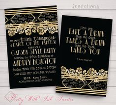Birthday Party Roaring Twenties Floral by PrettyWithInkInvites
