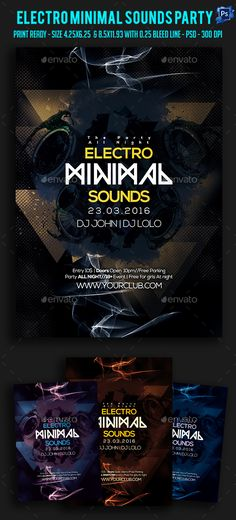 Electro Minimal Sounds Party FlyerIts unique flyers, poster design for your business Advertisement purpose. All Elements are in individual layers and all text is editable! Easy to customize & edit & Available for 2 sizes as require most customization highlight