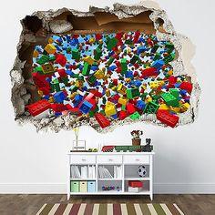 LEGO SMASHED WALL STICKER - 3D BEDROOM LEGO BRICKS BOYS GIRLS DECAL in Home, Furniture & DIY, Children's Home & Furniture, Home Decor | eBay