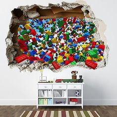 Perfect Details About LEGO SMASHED WALL STICKER   3D BEDROOM LEGO BRICKS BOYS GIRLS  DECAL